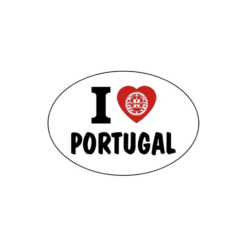 Pegatina Oval I love Portugal